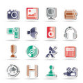 Media and household equipment icons Royalty Free Stock Photos