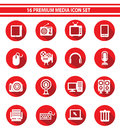 Media icon set red version Royalty Free Stock Photography