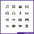 Media icon set vector black pictograms for mobile apps internet interface design music image movie video gallery camera and Stock Images
