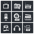 Media icon set video news music tv recording photo collection on a black background Royalty Free Stock Photo