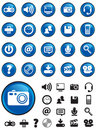 Media icons on Blue buttons Royalty Free Stock Photo