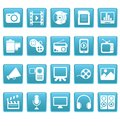 Media icons on blue squares this is file of eps format Royalty Free Stock Photo