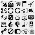 Media icons communication channels social icon set simplus series each icon is a single object compound path Royalty Free Stock Photography