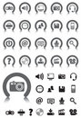 Media icons with Gray Device Royalty Free Stock Photo