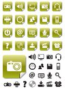 Media icons on Green Stickers Stock Image