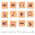 Media icons on memo notes Royalty Free Stock Photo