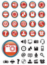 Media icons on Red buttons Royalty Free Stock Photo