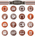 Media icons retro style on white background Stock Photos