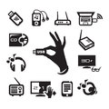 Media icons set authors illustration in vector Royalty Free Stock Photos