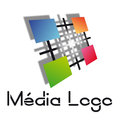 Media logo wtih colors for and Stock Photo