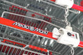 Media markt shopping carts with copy space Stock Image