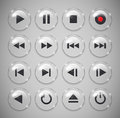 Media player buttons metallic and glossy vector illustration Stock Images