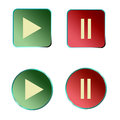 Media player buttons set of Stock Photo