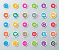 Media player buttons set of colorful paper Royalty Free Stock Photography