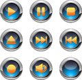 Media player buttons set of nine blue with orange icons eps Royalty Free Stock Image