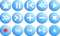 Media player buttons in vector collection Royalty Free Stock Photo