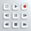 Media player control button ui icon set Royalty Free Stock Photo