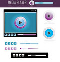 Media player design set Royalty Free Stock Photography