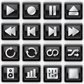 Media player metal icons Stock Images
