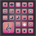 Media player universal buttons editable vector set Royalty Free Stock Photo