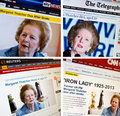 Media reports margaret thatcher s death th april Stock Image