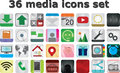 36 media set icons vecto