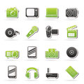 Media and technology icons vector icon set Royalty Free Stock Images