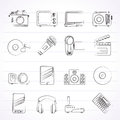 Media and technology icons vector icon set Royalty Free Stock Photos