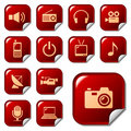 Media & telecom web icons Royalty Free Stock Photo