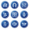 Media web icons, blue circle buttons series Royalty Free Stock Photo