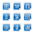 Media web icons, blue sticker series Royalty Free Stock Photo