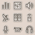 Media web icons, brown contour sticker series Stock Photos
