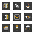 Media web icons, grey buttons series Royalty Free Stock Photos