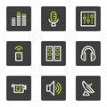 Media web icons, grey square buttons series Royalty Free Stock Image