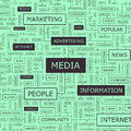 Media word cloud illustration tag cloud concept collage Royalty Free Stock Images
