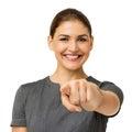 Mediados de empresaria adulta feliz pointing at you Imagen de archivo libre de regalías