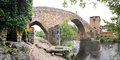 Mediaeval bridge of Ucanha, Portugal - Panoramic view Royalty Free Stock Photo