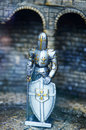 Mediaeval knight statues in metal armor the ancient toys and models Royalty Free Stock Photography