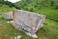 Mediaeval tombstones located in Lukomir village on Bjelasnica mountain, Bosnia and Herzegovina Royalty Free Stock Photo