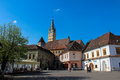 Medias city center a view from the of in the sibiu county romania in the distance can be seen the tower of the saint margaret Stock Photo