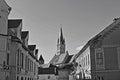 Medias tower trumpet medieval town in transylvania romania Stock Photo