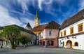 Medias transylvania cityscape of downtown in medieval city with fortified church tower landmark in romania Royalty Free Stock Photo