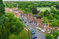 Mediaval street in warwick old houses along the medieval aerial view from the castle Stock Images