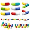 Medicación colorida de las drogas de las píldoras Fotografía de archivo libre de regalías
