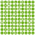 100 medical accessories icons hexagon green Royalty Free Stock Photo