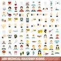 100 medical anatomy icons set, flat style