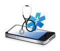 Medical app with a stethoscope illustration design over white Royalty Free Stock Photography
