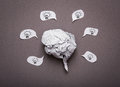 Medical background crumpled paper brain shape light bulb Stock Photos