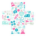 Medical background made of icons representing medicine and healthcare Royalty Free Stock Photo