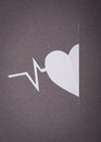 Medical background, Paper cut of Heart and pulse graph Stock Image